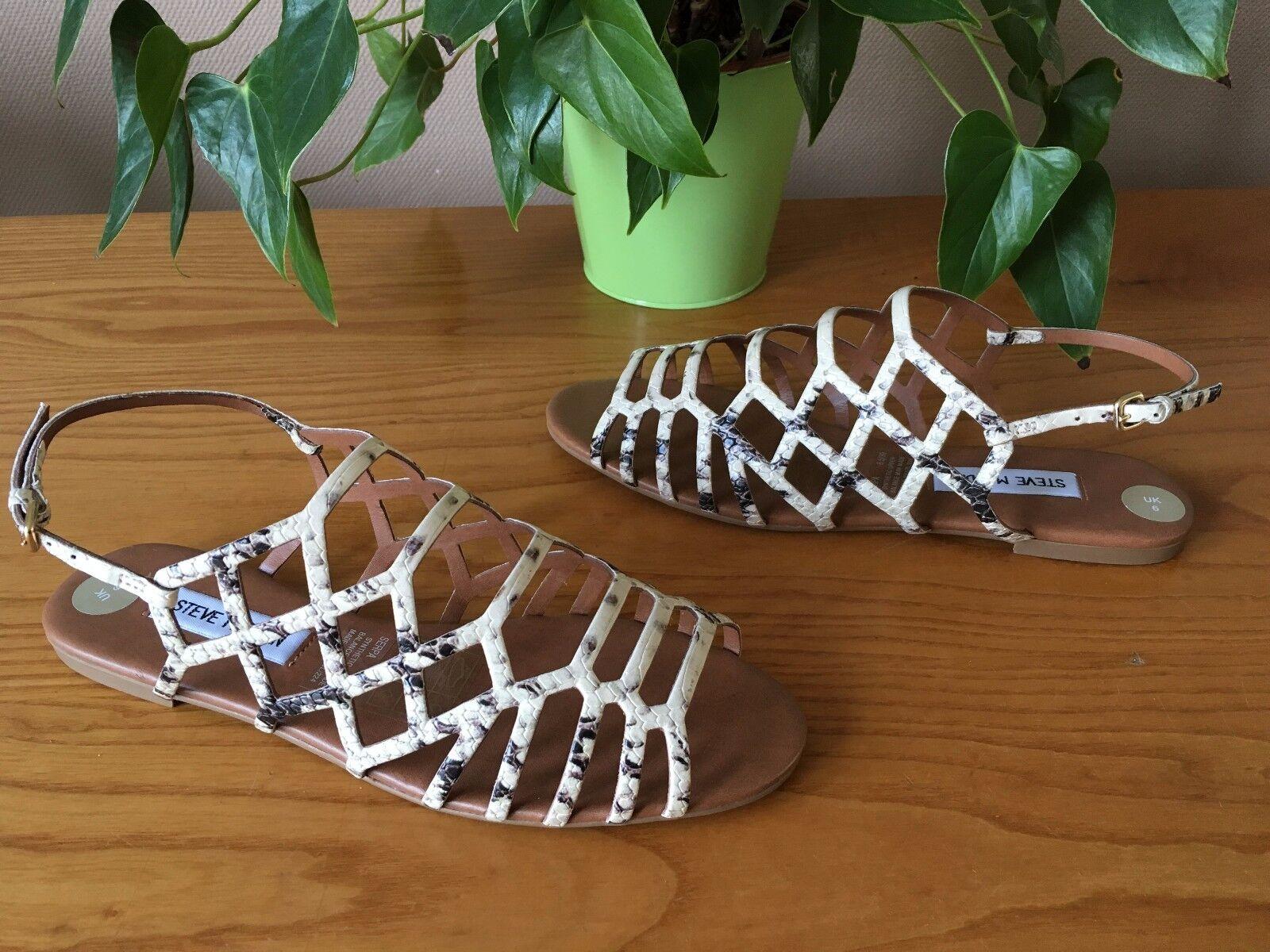 Steve Madden Beige Serpiente Diseño Gladiador Sandalias Planas Uk Uk Uk 6 EU 39 nuevo PVP  grandes ofertas