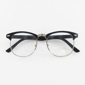 940074baf898d Image is loading Vintage-Retro-Unisex-Eyeglass-Frame-Clear-Glasses-Half-