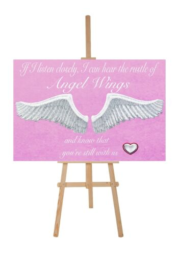 """BEAUTIFUL ANGEL WINGS HEART CANVAS PICTURE /""""IF I LISTEN CLOSELY/"""" WORD ART PINK"""