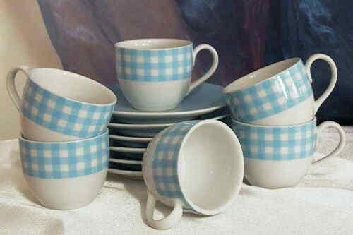 12 tlg Espresso Set Mokkatasse Espressotassen mit Unterteller Vichy blau KARO