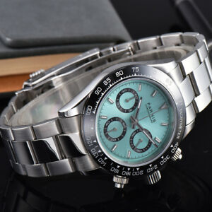 eedbd931d4e 40mm PARNIS Men s Watch Full Chronograph Sapphire Crystal green dial ...