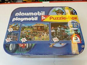 NEU-XL-Playmobil-Puzzle-Box-55599-4-Puzzles-Metallkoffer-Schmidt-Ostern-Kinder