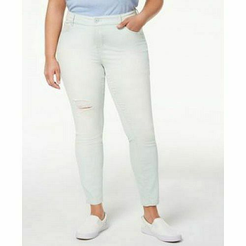 Celebrity Pink Plus Size Ripped Skinny Jeans Redux Frosty Mint Green NEW $60