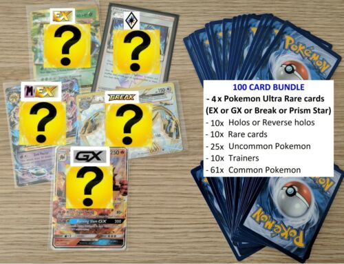 120 Pokemon cards GUARANTEED 4x GX EX Mega Break Prism Booster Pack Shiny xmas