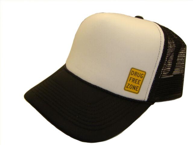 Drug Free Zone Sign Side Logo Black /& White Mesh Trucker Cap Caps Hat Hats