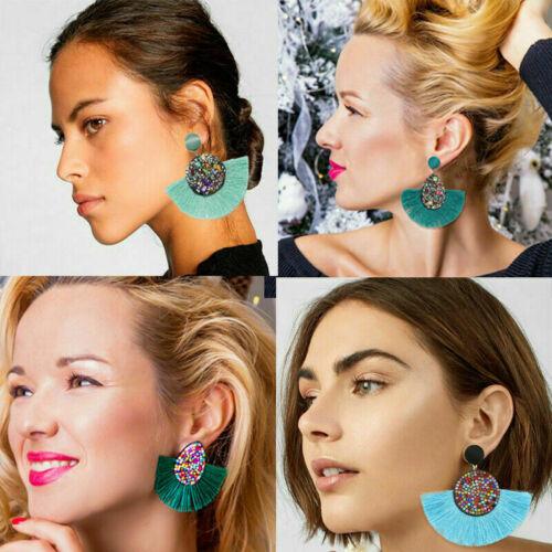 Women Ethnic Bohemian Long Tassel Fringe Boho Ear Stud Dangle Earrings Jewelry