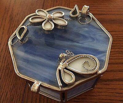 Blue w Silver Leaf Hexagon Trinket Box