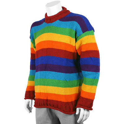 QUALITY NEPAL FAIR TRADE HIPPY BOHO HAND KNITTED RAINBOW MULTI STRIPE JUMPER
