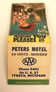 Old-Matchbook-Cover-Peters-Motel-US-27-Ithaca-MI