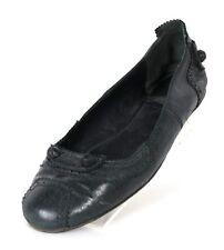 BALENCIAGA Black Leather Studded Brogue Trim ARENA Ballet Flats 40