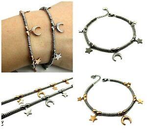 Bracciale-donna-in-acciaio-inox-sfere-perline-braccialetto-con-stelle-luna-da-a