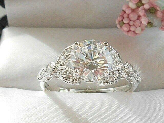 QVC- Diamonique Vintage design round and Marquise Sterling ring Size 8