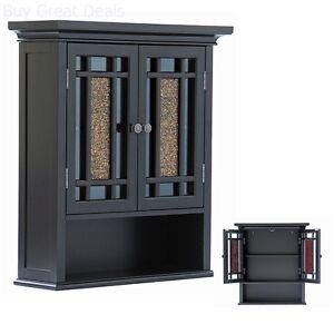 Details about Bathroom Cabinets Over Toilet Wall Mount Shelf Medicine  Storage Glass Doors Wood