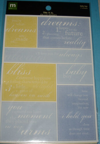 NEW 14 pc GIRL or BOY *You Choose*  LIKE IT IS Words  MAKING MEMORIES Stickers
