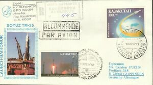 KAZAKHSTAN-1997-BAYKONUR-RUSSIA-SPACE-COVER-TO-GERMANY-SOYUZ-TM-R2021602