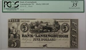 Bank-of-Lansingburgh-5-Obsolete-Currency-Haxby-1180-G40-NY-PCGS-VF-35-Apparent