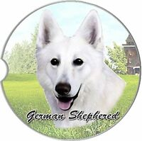 German Shepherd Car Coaster Absorbent Keep Cup Holder Dry Stoneware White Dogs