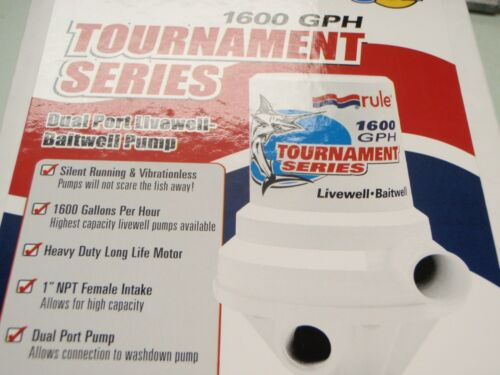 LIVEWELL PUMP DUAL PORT RULE 29 209FDP BOAT BAIT LIVE TOURNAMENT SERIES 1600 GPH