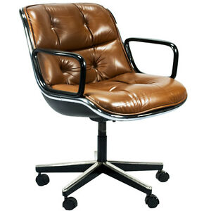 Mid Century Charles Pollock Knoll Leather Swivel Office Chair | EBay