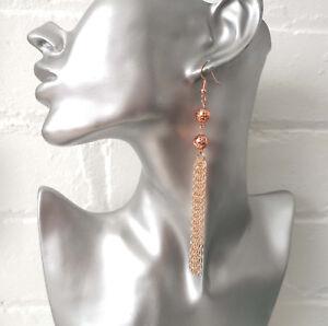 Gorgeous-11cm-long-rose-gold-tone-bead-amp-chain-tassel-drop-earrings