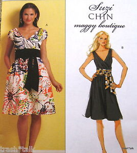 Suzi Chin mock wrap dress pattern sz 8 10 12 14 tankdress A line semi fitted