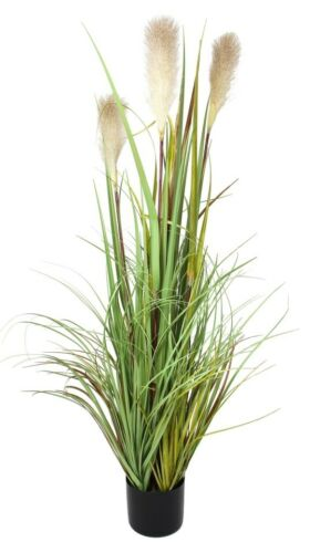 """/""""Reed Banks/"""" Artificial 47 in Reed Grass w// White Flowers /& Black Pot"""