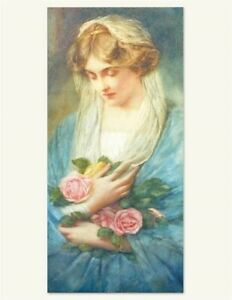 Victorian Trading Co Girl with Harp When the Music Dies Art Print Unframed