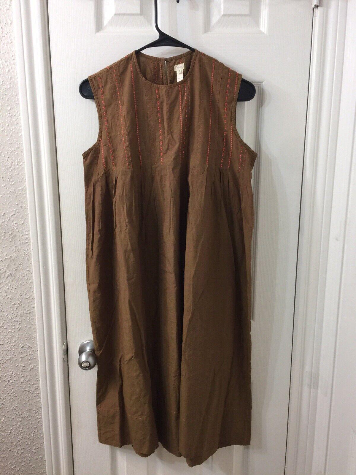 Dosa Cotton Brown Sleeveless Dress Sz 1 1 1 1798d8