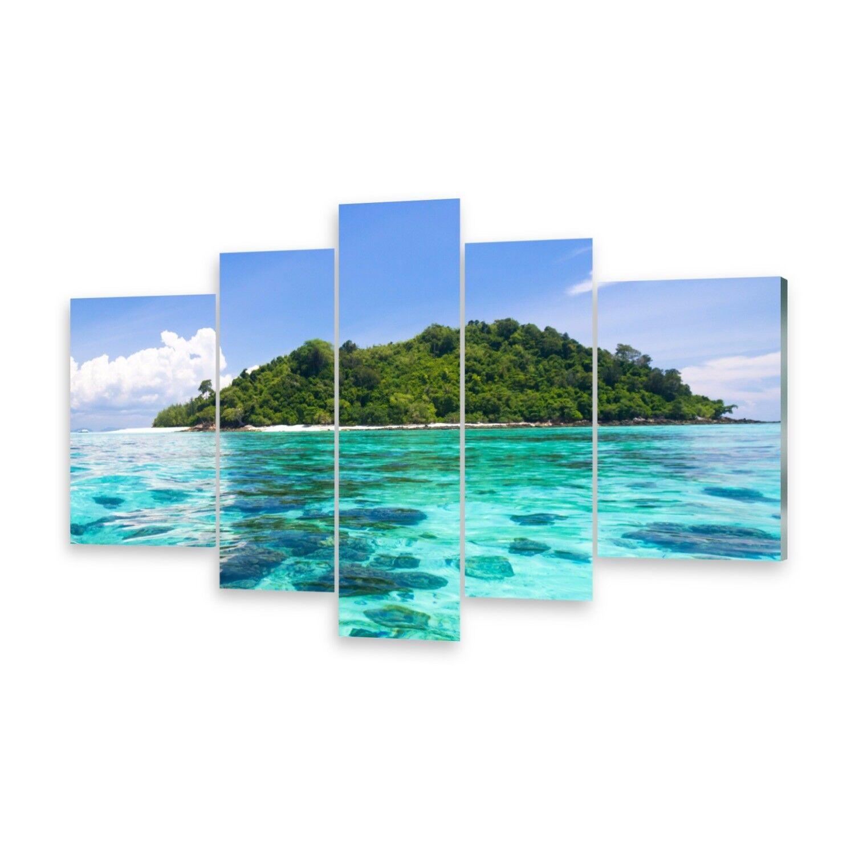 Mehrteilige Bilder Glasbilder Wandbild Insel Blau Paradies