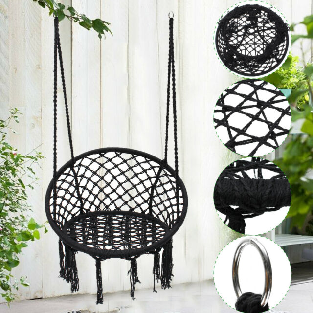Woven Check Pod Hanging Chair For