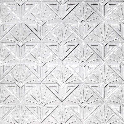 Anaglypta Art Deco Paradiso Wallpaper Luxury Paintable White Blown Vinyl RD576