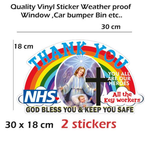 Rainbow Thanks NHS /&Keyworkers support vinyl Sticker window Car Bumper Bin Crist