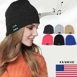 Women Men Warm Beanie Wireless Bluetooth Smart Cap Headset Headphone Speaker Mic