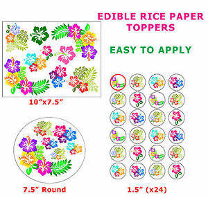 Hibiscus Flower Cakecupcake Topper Decoration On Edible Wafer Rice