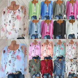 Da-Donna-Estate-Fiori-Camicia-Manica-Lunga-Taglio-Lungo-Longtop-Shirts-Top-42-44-46-48