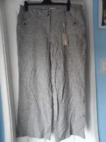 Soon Matalan Linen Blend Blueish Grey Pinstripe Trousers Size 18
