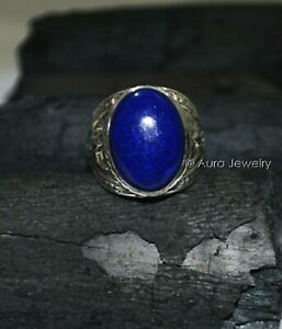 Solid 925 Sterling Silver Natural Blue Lapis Lazuli Gemstone Mens Ring Jewelry