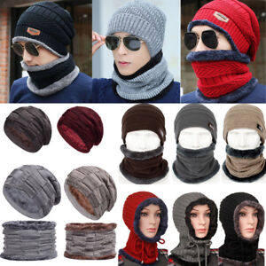 Men s Women Winter Beanie Hat and Scarf Set Warm Crochet Knitted ... 1eec2d882e3