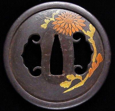 "Beautiful TSUBA 18-19th C Japanese Edo Antique Koshirae fitting ""Flower"" d814"