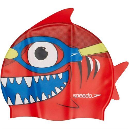 Speedo Kids Swimming Cap NEW Fish Shark Sea Squad Character Swim Boys Girls