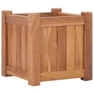 vidaXL Solid Teak Wood Raised Bed 30x30x30cm Outdoor Patio Flower Plant Pot Box