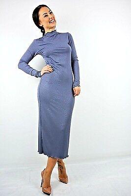 New Womens Ex Brand Dark Grey Funnel Neck Ribbed Bodycon Midi Dress Size 8-18