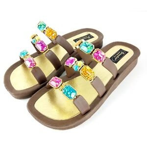 Grandco-Women-Size-9-Jeweled-Sandals-Brown