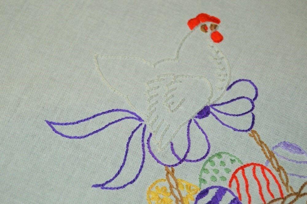 HENRIETTA HEN & HER PRIZE EASTER BASKET cravateD W  violet VINTAGE GERhomme TABLECLOTH