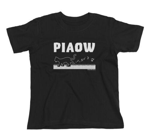 Kids piaow Pianoforte GATTO Pianista Grand Acustico Strumento Musica Novità T-shirt