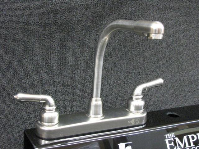 Brushed Nickel Finish with Teapot Handles High Rise RV Kitchen Faucet