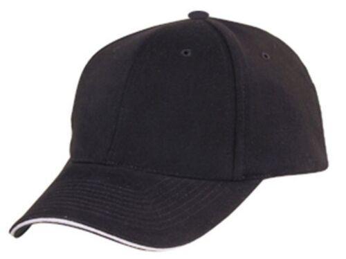 Brushed Cotton Sandwich 6 Panel Low Crown Baseball Hats Caps Plain Two Tone
