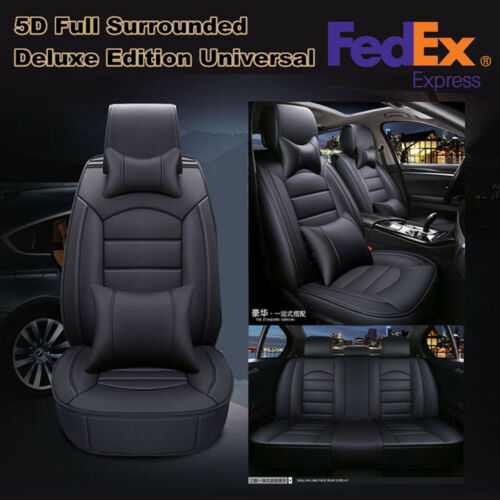 Universal Luxury 5D Surround Full Seat PU Leather Car Seat Cover Cushion Pad Set