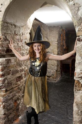 Gold Star Sorcière Déguisement Halloween 5-10yrs Bnwt jusqu/' Filles Costume Chapeau F/&F