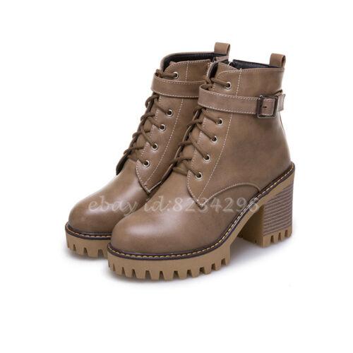 College Ankle Stiefeletten Damen Schuhe Blockabsatz Boots Schnürschuhe Schnalle